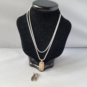NWT Liz Claiborne Necklace Pendant & Earrings